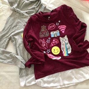 Lot of 2 Girls' Justice Layered Look Hoodies 14+